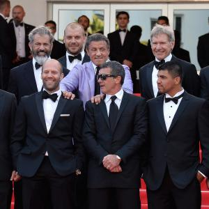 Antonio Banderas, Harrison Ford, Mel Gibson, Dolph Lundgren, Sylvester Stallone, Wesley Snipes, Jason Statham, Patrick Hughes, Randy Couture, Glen Powell and Victor Ortiz at event of Nesunaikinami 3 (2014)
