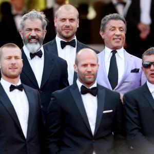 Antonio Banderas, Mel Gibson, Sylvester Stallone, Jason Statham, Patrick Hughes and Glen Powell