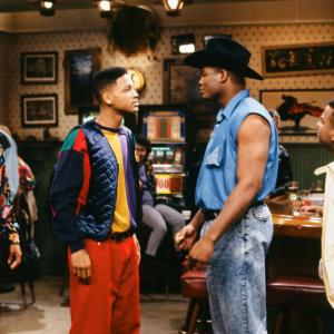 Still of Will Smith Alfonso Ribeiro Olivia Brown and Riddick Bowe in The Fresh Prince of BelAir 1990