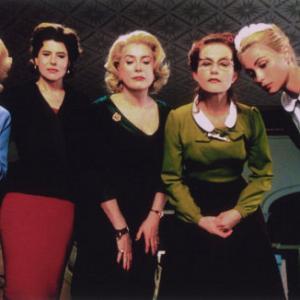 (l to r) Virginie Ledoyen, Danielle Darrieux, Fanny Ardant, Catherine Deneuve, Isabelle Huppert, Emmanuelle Béart and Ludivine Sagnier