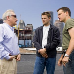 Leonardo DiCaprio Martin Scorsese and Matt Damon in Infiltruoti 2006