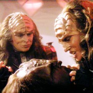 Still of Michael Dorn Barbara March and Gwynyth Walsh in Star Trek The Next Generation 1987