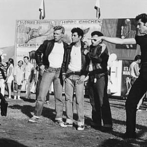 Still of John Travolta, Olivia Newton-John, Barry Pearl, Michael Tucci and Kelly Ward in Grease (1978)