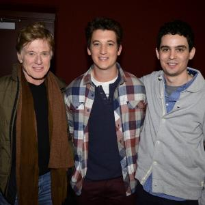 Robert Redford, Miles Teller and Damien Chazelle at event of Atkirtis (2014)