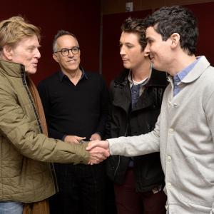 Robert Redford, Miles Teller, John Cooper and Damien Chazelle at event of Atkirtis (2014)