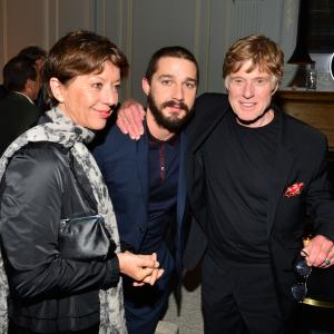 Robert Redford, Shia LaBeouf and Bylle Szaggars-Redford at event of The Company You Keep (2012)