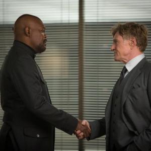 Still of Samuel L. Jackson and Robert Redford in Kapitonas Amerika: ziemos karys (2014)