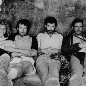 Harrison Ford George Lucas Steven Spielberg and Kate Capshaw in Indiana Dzounsas ir lemties sventykla 1984