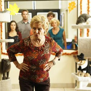 Still of Martha Plimpton, Cloris Leachman, Garret Dillahunt, Shannon Woodward and Lucas Neff in Mazyle Houp (2010)