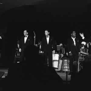 Dean Martin, Frank Sinatra, Peter Lawford, Sammy Davis Jr. and Joey Bishop performing in the Copa Room at the Sands Hotel in Las Vegas