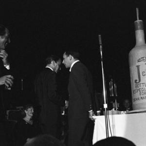 Dean Martin, Frank Sinatra, Joey Bishop and Peter Lawford performing at the Sands Hotel in Las Vegas