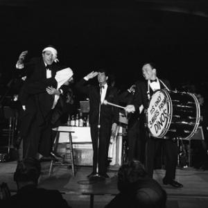 Buddy Lester, Joey Bishop, Dean Martin and Frank Sinatra performing in the Copa Room at the Sands Hotel in Las Vegas