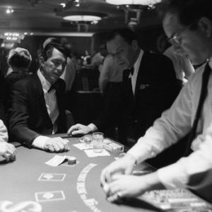 Dean Martin and Frank Sinatra at the Blackjack tables after the last show at the Sands Hotel in Las Vegas