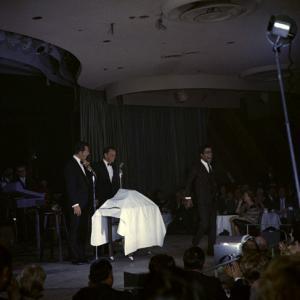 Frank Sinatra, Dean Martin and Sammy Davis Jr. performing circa 1960