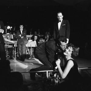Joey Bishop, Dean Martin and Frank Sinatra performing in the Copa Room at the Sands Hotel in Las Vegas