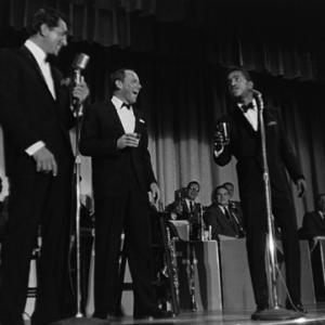 Dean Martin, Frank Sinatra and Sammy Davis Jr. performing in Palm Springs, CA
