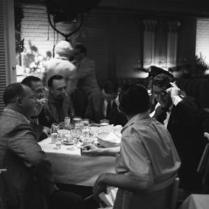 Don Rickles, Buddy Lester, George Sidney, Frank Sinatra, Jack Entratter and Dean Martin having lunch at the Sands Hotel in Las Vegas