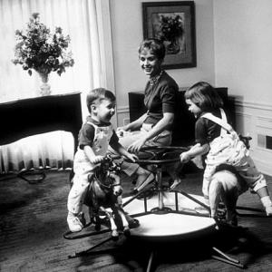 Debbie Reynolds with her son Todd and daughter Carrie at home in Los Angeles CA 1960