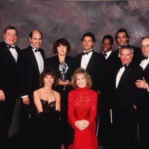 Still of Jimmy Smits, Harry Hamlin, Blair Underwood, Larry Drake, Richard Dysart, Jill Eikenberry, Michele Greene, Alan Rachins, Susan Ruttan and Michael Tucker in L.A. Law (1986)
