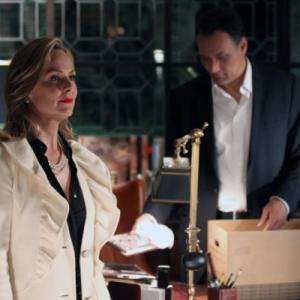 Still of Jimmy Smits and Melora Hardin in Outlaw (2010)