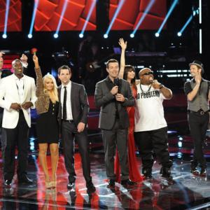Christina Aguilera, Carson Daly, CeeLo Green, Tony Lucca, Blake Shelton, Adam Levine, Juliet Simms