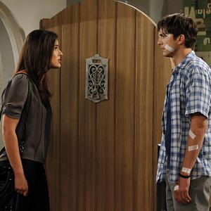 Still of Ashton Kutcher and Sophie Winkleman in Two and a Half Men (2003)