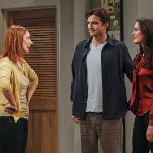 Still of Ashton Kutcher, Judy Greer and Sophie Winkleman in Two and a Half Men (2003)