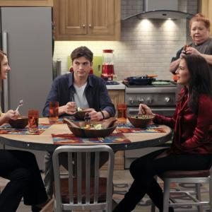 Still of Conchata Ferrell, Ashton Kutcher, Judy Greer and Sophie Winkleman in Two and a Half Men (2003)