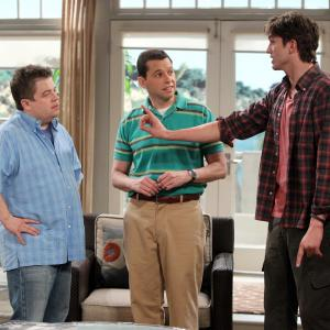 Still of Jon Cryer Ashton Kutcher and Patton Oswalt in Two and a Half Men 2003