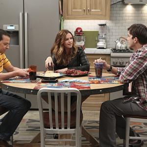 Still of Jon Cryer, Ashton Kutcher and Amber Tamblyn in Two and a Half Men (2003)