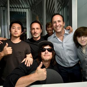 Norman Reedus, Andrew Lincoln, Charlie Collier, Steven Yeun and Chandler Riggs at event of Vaiksciojantys negyveliai (2010)