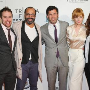 Sam Rockwell, Heather Lind, Kelly Reilly, Jeffrey Wright and David M. Rosenthal at event of A Single Shot (2013)