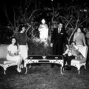 Danny Thomas with his wife Rosemary and children Theresa Marlo and Tony at home in Beverly Hills CA 1958