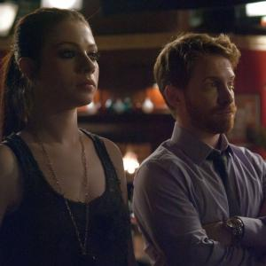 Still of Seth Green and Michelle Trachtenberg in Sexy Evil Genius (2013)