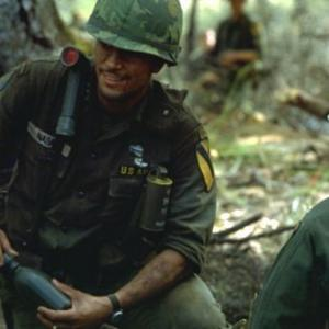 Jsu Garcia as Cpt Tony Nadal gives water to Lost Platoon in We Were Soldiers