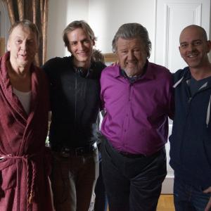 Director Casper Andreas with actors Tomas von Brömssen and Iwar Wiklander, and producer David Färdmar, during production of A LAST FAREWELL.