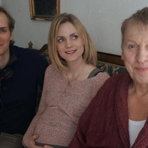 Director Casper Andreas with actors Liv Mjönäs and Tomas von Brömssen during the shooting of A LAST FAREWELL, February 2013.