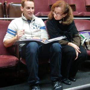 Director Casper Andreas with Annie O'Donnell (Ms. Janet) on the set of