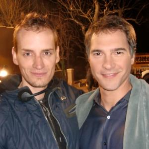 Director Casper Andreas with Michael Medico (John) on the set of