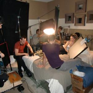 Casper Andreas directs a scene on the set of