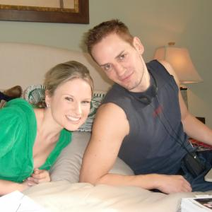 Allison Lane (Candy) and director Casper Andreas on the set of