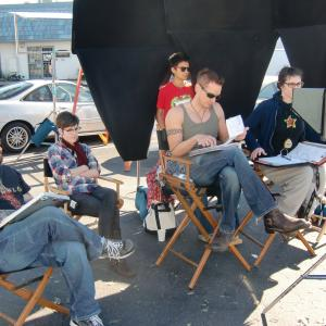 Director Casper Andreas and crew on the set of