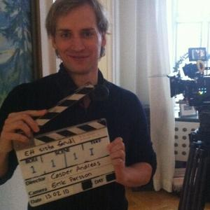 Director Casper Andreas about to begin shooting of A LAST FAREWELL, February 2013.
