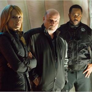 Still from the film ICE SOLDIERS (Camille Sullivan, Michael Ironside and Benz Antoine)