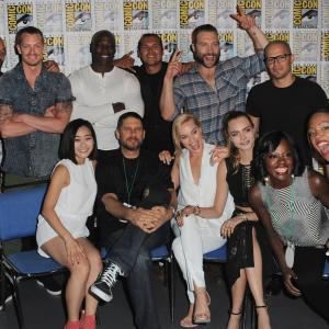 Will Smith, Adewale Akinnuoye-Agbaje, David Ayer, Adam Beach, Viola Davis, Jay Hernandez, Aisha Tyler, Joel Kinnaman, Jai Courtney, Margot Robbie, Cara Delevingne and Karen Fukuhara at event of Suicide Squad (2016)