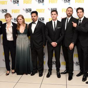Brad Pitt, David Ayer, Logan Lerman, Jon Bernthal, Anamaria Marinca and Alicia von Rittberg at event of Inirsis (2014)