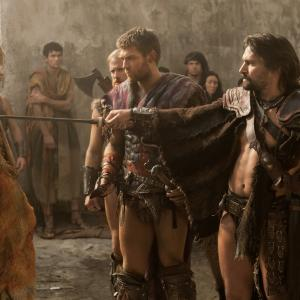 Still of Manu Bennett, Liam McIntyre and Todd Lasance in Spartacus: Blood and Sand (2010)