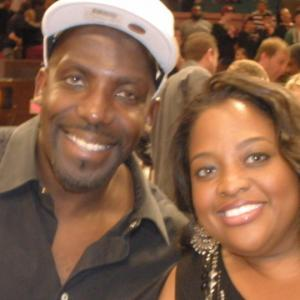 Kevin Brown aka Dot Com and Sherrie Shepherd The View with floor seats at the Knicks vs Miami Heat Game