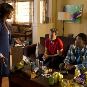 Still of Matthew Perry Vanessa Bell Calloway and Tyler James Williams in Go On Videogame Set Match 2012
