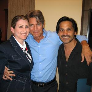 Victoria Charters, Eric Roberts, Adam Davis on the set of The Cookie Thief